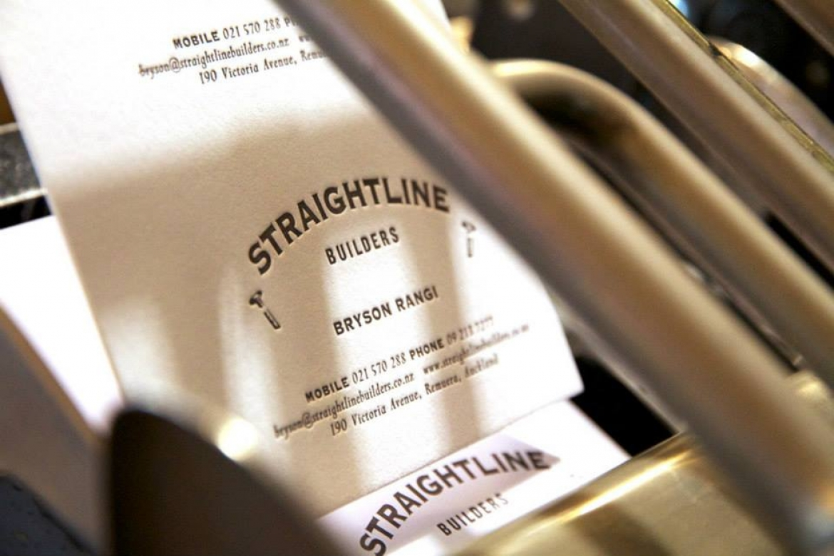 Straightline Builders Letterpress Business Cards » Onfire Design