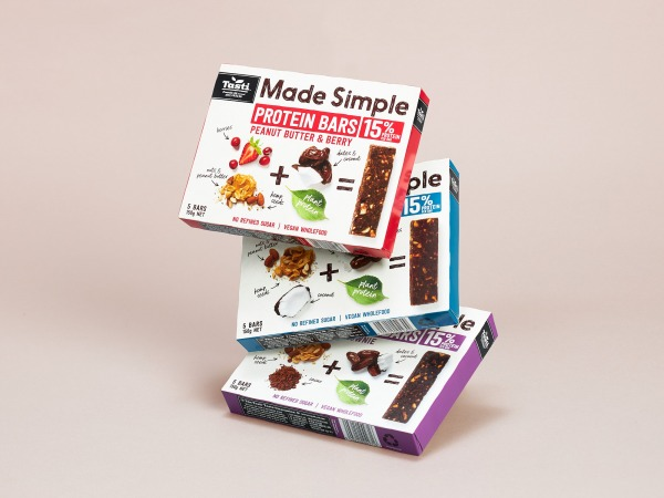 onfire design tasti made simple protein bar packaging design 1
