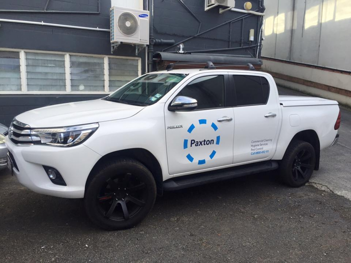 large Paxton Branding on Ute