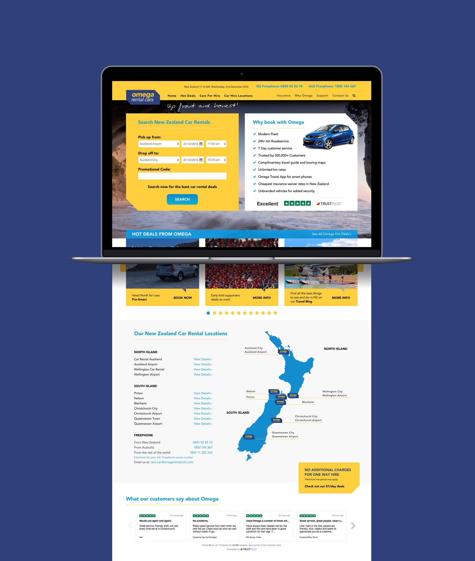 Websites For Renting: Onfire Design Omega Rental Cars Website UX And UI Design