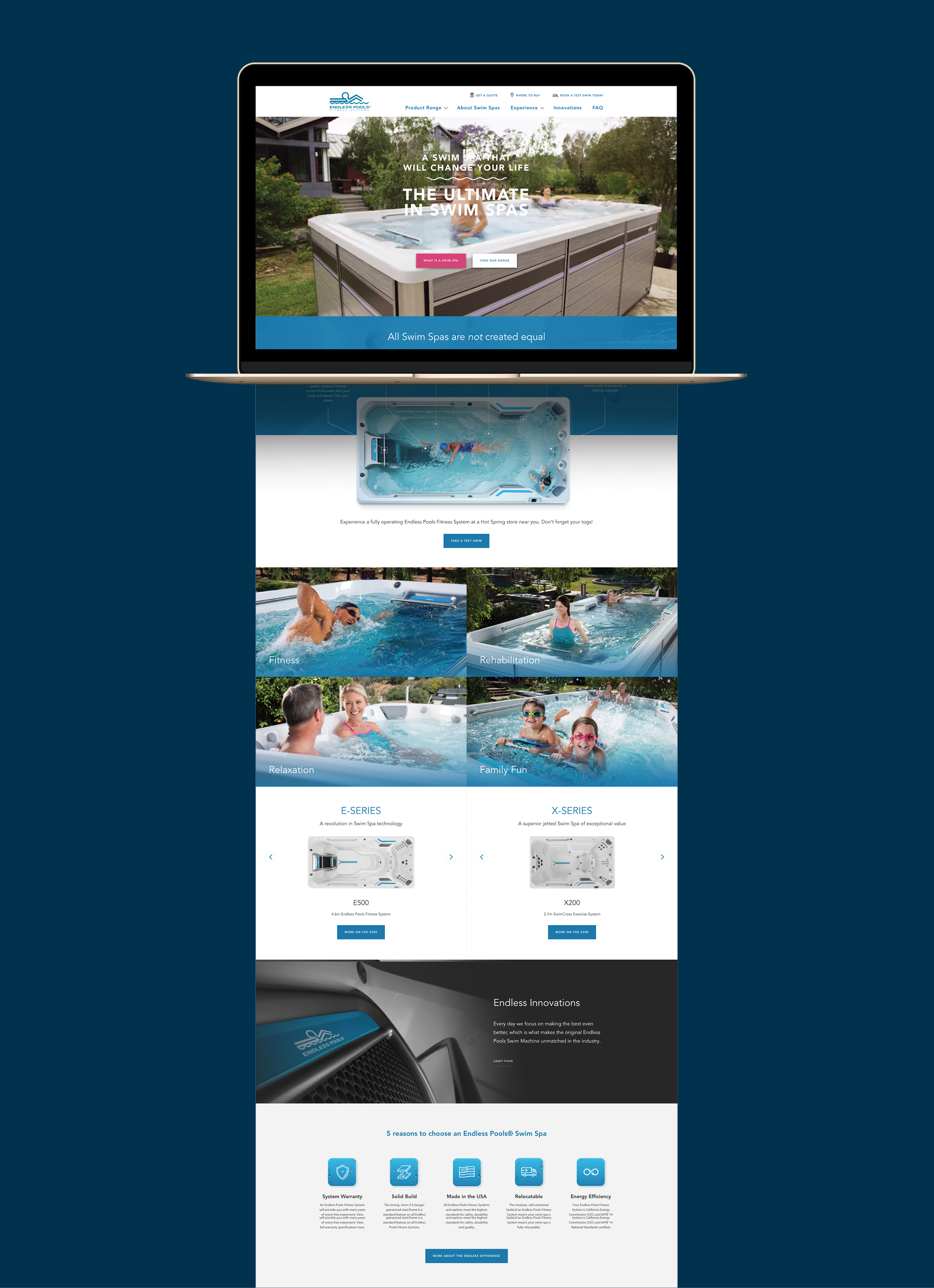 onfire design endless fitness spa pools website design 1