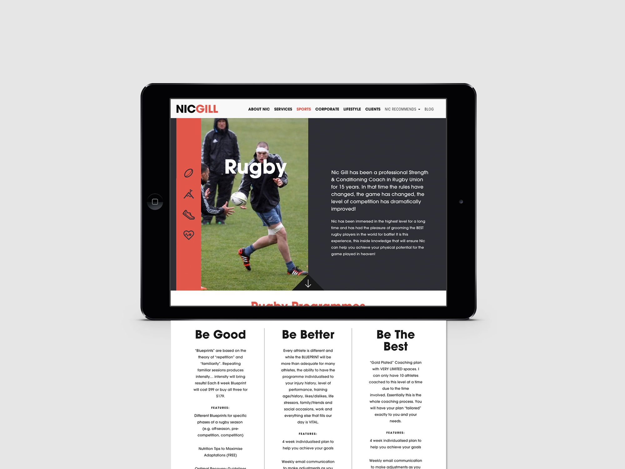 Onfire Design Nic Gill Sports Lifestyle Coach Web Graphic Digital Design 3