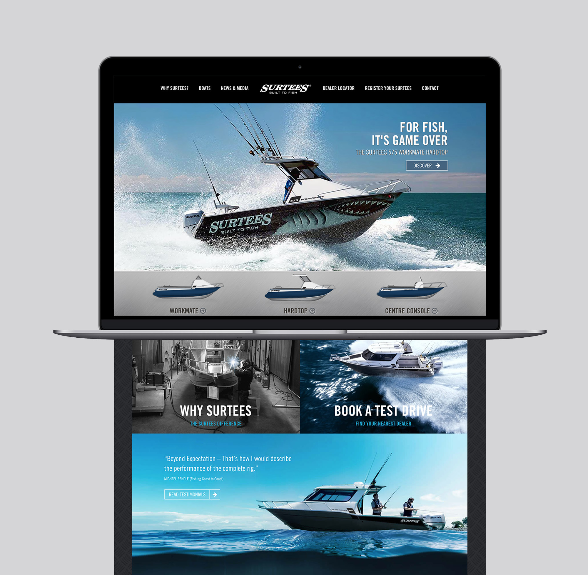 Onfire design surtees boats digital website design auckland