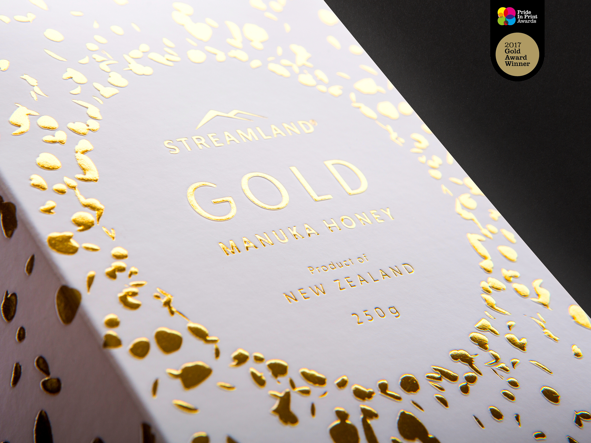 onfire design streamland gold honey packaging design pride in print gold winner 2