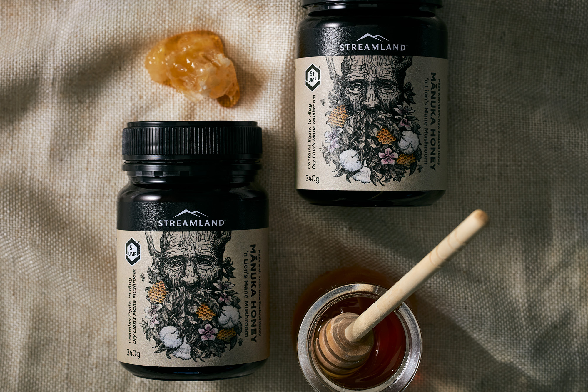 onfire design streamland lion mane manuka honey packaging design auckland 17